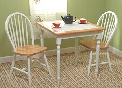 3pc White Finish Tile Top Dining Table & 2 Chairs Set