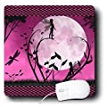 3dRose LLC 8 x 8 x 0.25 Inches Mouse Pad, Fairies and Dragonflies with Pink Moon (mp_35669_1)