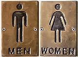 Brass Restroom Signs, Set of 2, Men/Women