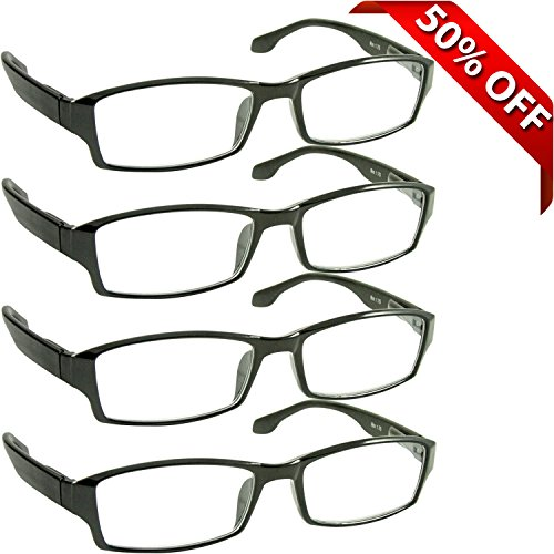 Reading Glasses _ Best 4 Pack for Men and Women _ Have a Stylish Look and Crystal Clear Vision When You Need It! _ Comfort Spring Arms & Dura-Tight Screws _ 180 Day 100% Guarantee + 4.50 (Readers 450 compare prices)