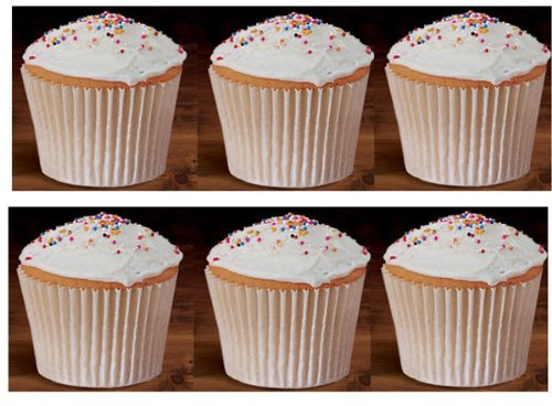 50 Large White 6inch Jumbo Texas Muffin Premium White Flutted Cupcake Liners Baking Cups