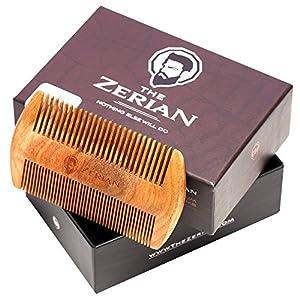 Beard Comb - Fine & Coarse Tooth - Handmade Genuine Sandalwood Brush for Hair - Smells Amazing - Anti-Static - No Snag - For Stylish Beard & Mustache Grooming- Best Premium Giftbox Set
