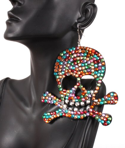 Iced Out Basketball Wives Multicolor Pirates Logo 4 Inch Drop Earrings Light Weight POParazzi