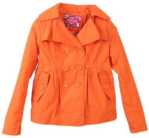 Dollhouse Girls Cotton Trench Spring Jacket with Removable Hood - Orange (Size 14)