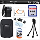 8GB Accessories Kit For Sony Cyber-shot DSC-W800, W800/B, W800/S, DSC-W830, DSCW830/B, DSCW830, DSC-WX220, DSCWX220/B Digital Camera Includes 8GB High Speed SD Memory Card + Extended Replacement (1300maH) NP-BN1 Battery + AC/DC Travel Charger + Case +More ~ ButterflyPhoto