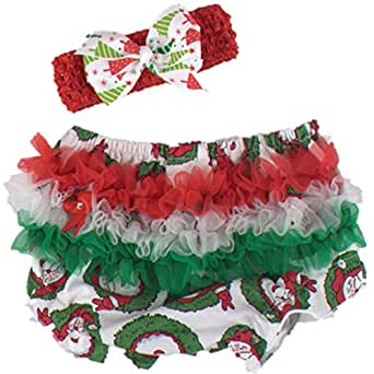 WINMI® Baby Girls' Newborn 1st Christmas Costume Ruffle Bloomer Headbands 2PCS