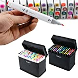 Yosoo 40, 60 or 80 Assorted Colors Alcohol Oily Marker Pen Dual Brush Pen Art Markers Sketch Marker Pen Set with a Bag (Black Body, 40-Color)