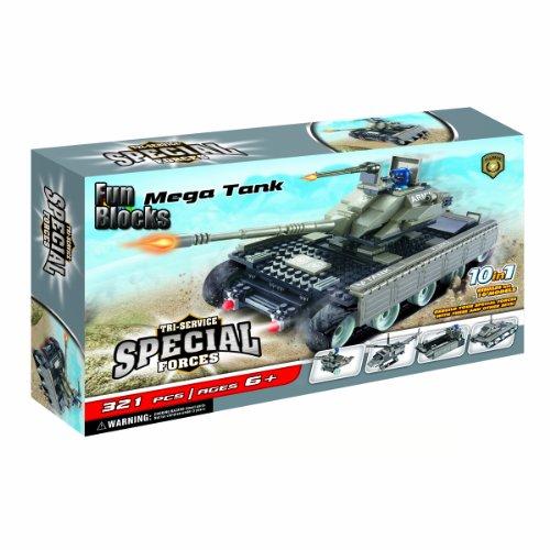 Fun Blocks (Compatible With Lego) Mega Tank Military 10-In-1 Brick Set (321 Pieces)