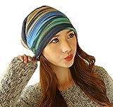SHINA 帽子 キャップ 暖かい ファッション  ネックウォーマー ヘアバンド 多用途、 春秋物  キャップ かわいい (ブルー)