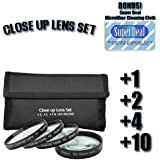 CLASSIC High Definition +1 +2 +4 +10 Close-Up Macro Filter Set + Pouch For The Samsung GX-20 GX-10 GX-1L GX-1S Digital SLR Cameras Which Has This (Schneider D-Xenon 18-55mm) Lens