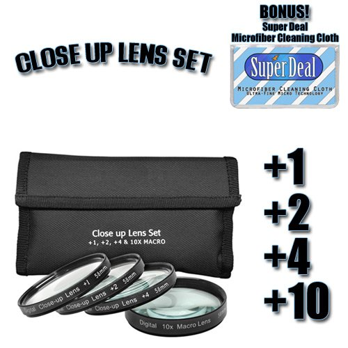 CLASSIC High Definition +1 +2 +4 +10 Close-Up Macro Filter Set + Pouch For The CANON EOS-450D Which Has Any Of These Lenses ( EF-S 18-55mm F3.5 - F5.6 IS, EF-50mm F1.4, EF 70-300mm f/4-5.6 ) Or Any Other Similar Lenses + Exclusive FREE Complimentary Super