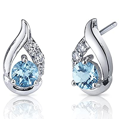 Revoni Radiant Teardrop Gemstone Round Cut CZ Diamond Earrings in Sterling Silver