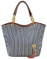 Hunnt® New Fashion Stripe Design Women Street Snap Candid Tote Single Shoulder Canvas Bag Handbag (Black)