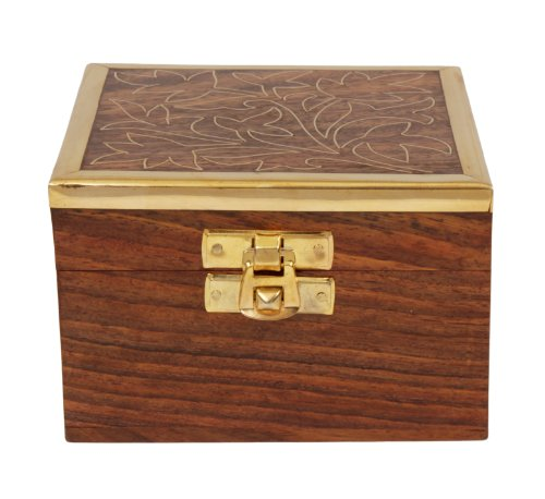 Beautiful Hand Carved Wooden Trinket Keepsake Box & Brass Latch