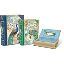 Royal Peacock Set of 3 Large Nesting Book Boxes