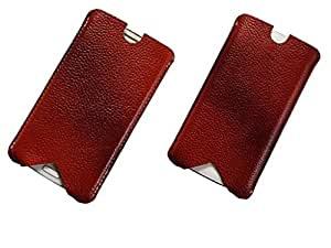 ATV Genuine Leather BROWN Designer Pouch Case Cover For LG Magna