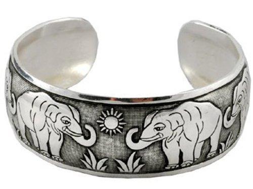 White Metal Elephant Unisex Cuff Bracelet