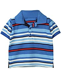 Beebay Infant-boy 100% Cotton Knitted Blue & White Stripe Collar T-shirt (C4016130300225_Blue_6-12 Months)