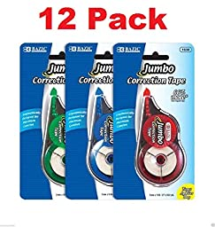 wennow (12 pack) Unrefillable Paper Correction Tapes 10m x 5mm Long for Each Tape