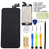 for iPhone 5 Black LCD Display Touch Screen Glass Digitizer Assembly With Spare Parts (Home Button & Camera & Flex Cable Sensor)