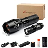 Moobibear MD0021 Super Bright Tactical Flashlights 2 Pack Handhold LED Flashlight Kit , 2 Flashlights Bundle,18650 Rechargeable Batteries Included, Zoomable LED Flashlights