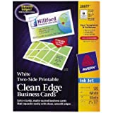 Avery® Two-Side Printable Clean Edge Business Cards for Inkjet Printers, White, Matte, Pack of 120 (28877)