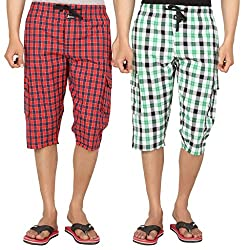 JOVEN Men's casual Asorted Three Fourth(Pack of 2)