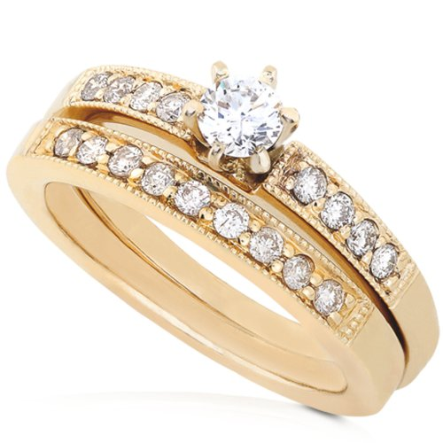 1/2ctw Round Brilliant Diamond Wedding Ring Set in 14K Yellow Gold (HI/I1)