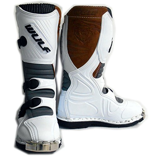 WULFSPORT CUB JUNOR KIDS MX OFF ROAD ENDURO ARMOUR MOTORBIKE MOTOCROSS BOOTS WHITE (Junior UK 2)