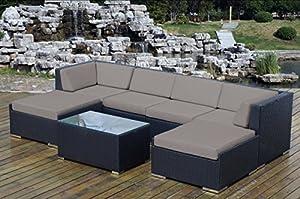 Genuine Ohana (Sunbrella Taupe) Outdoor Patio Sofa Sectional Wicker Furniture 7pc Couch Set by Ohana