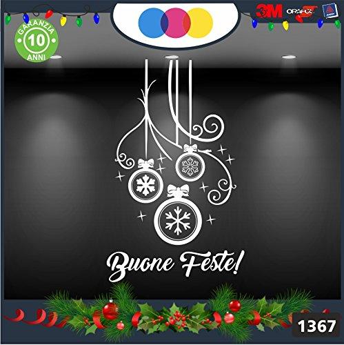 Vetrofanie natalizie e decorazioni di natale - SCRITTA BUONE FESTE - ADDOBBI COLORE: BIANCO - - DECORAZIONI NATALIZIE XMAS - STICKERS , decal ,addobbi , natale , christmas Cod 1367