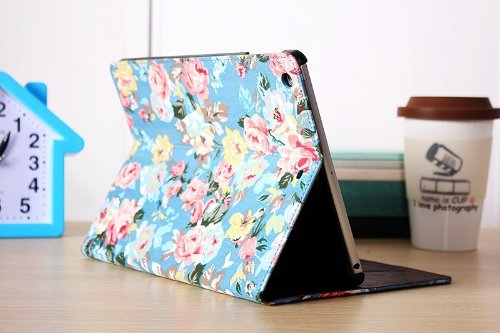 New Noarks for iPad Air New Fashion Flower Pattern Leather Flip Stand Cover Case with Card Slots Ski...