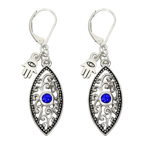 Silver Evil Eye Earrings with Blue Crystal and Hamsa Charm
