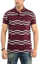 Lead & Ride Men's Polo Neck T-Shirt (304 mehroon_x-large, Red, X-Large)