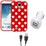Fosmon 3 in 1 Bundle for Samsung Galaxy S4 IV / I9500 - 1x Fosmon DURA Series SLIM-Fit Case Polka Dot Skin Cover (Red) - 1x Fosmon 2.1amps / 10w Dual Port USB Rapid Car Charger - 1x Fosmon Micro USB Data Charging Cable