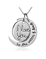 "Antique Silver Polished "" I Love You To The Moon And Back "" Two Piece Pendant Necklace Hot Selling Gift For Loved..."
