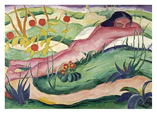 "Global Gallery DP-265157-30 ""Franz Marc Nude Lying in The Flowers"" Unframed Giclee on Paper Print, 21 1/4"" X 30"""