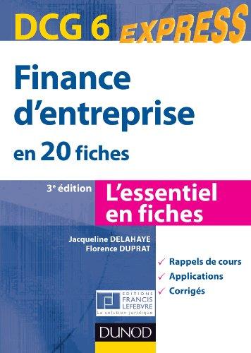 Télécharger Finance Dentreprise Dcg 6 3e éd En 20 Fiches