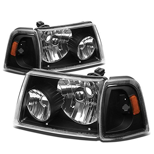 Ford Ranger 4pcs Replacement Headlight+Corner Lights Kit (Black Housing Amber Reflector) (2006 Ford Ranger Corner Lights compare prices)