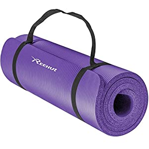 Reehut 1/2-Inch Extra Thick High Density NBR Exercise Yoga Mat for Pilates, Fitness & Workout w/ Carrying Strap (Purple)