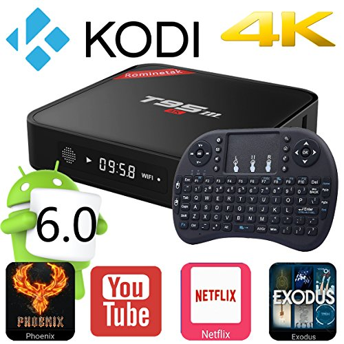 Rominetak [Wireless Mini Touchpad Keyboard] + T95M Android 6.0 Lollipop TV Box Quad Core 1G/8G 4K UHD 3D HDMI Kodi 16.1 Fully Loaded Rooted Unlocked Miracast Google Streaming Media Player WiFi DLNA (Keedox Quad compare prices)