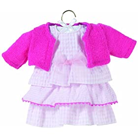 Pink Flounce Dress Set, fits 12 inch baby dolls