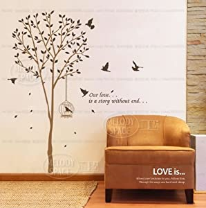 "X Large Contemporary Tall Tree Leaves Falling Birds Flying Approx 70"" Inches or 6 Feet Wall Sticker Decal from WallStickersUSA"