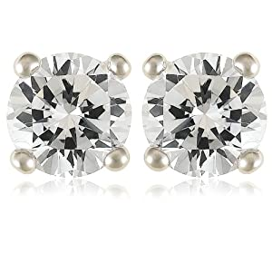 Platinum Plated Sterling Silver 5mm Round Cubic Zirconia Four-Prong Stud Earrings