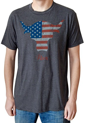 WWE The Rock American Flag Brahma Bull Mens Charcoal Heather T-shirt L