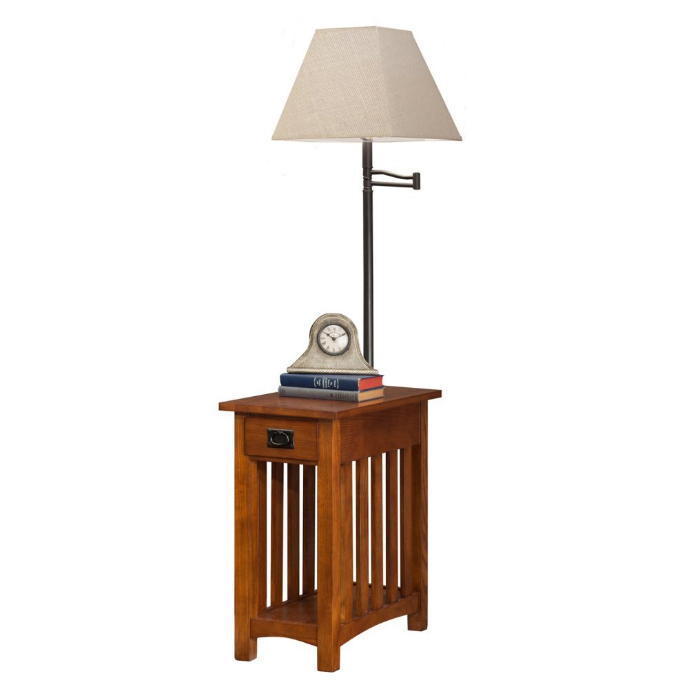 Leick Mission Chairside Swing Arm Lamp Table
