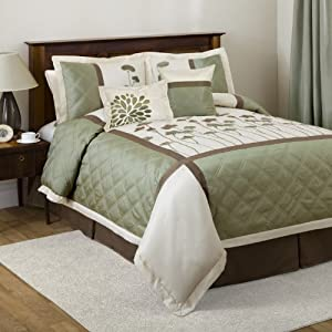 Triangle Home Fashions 18696 Lush Decor 6-Piece Dawn Comforter Set, King-Size, Ivory/Green