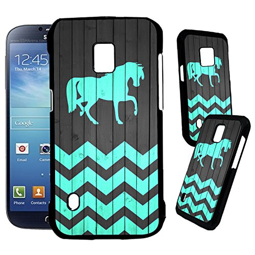 [TeleSkins] - Samsung Galaxy S5 Active Designer Plastic Case - Horse On Teal Wood Zig Zag Pattern - Ultra Durable HARD PLASTIC Protective Snap On Back Case / Cover for Samsung Galaxy S5 Active. (Cute Protective S5 Case compare prices)
