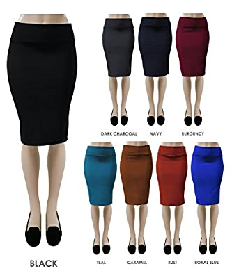 Red Hanger Women's Bodycon Fitted Pull On Knee Length Midi Pencil Skirt