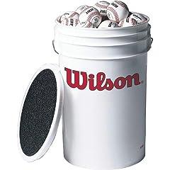 Wilson 3 Dozen A1030 Baseballs in a Bucket by Wilson